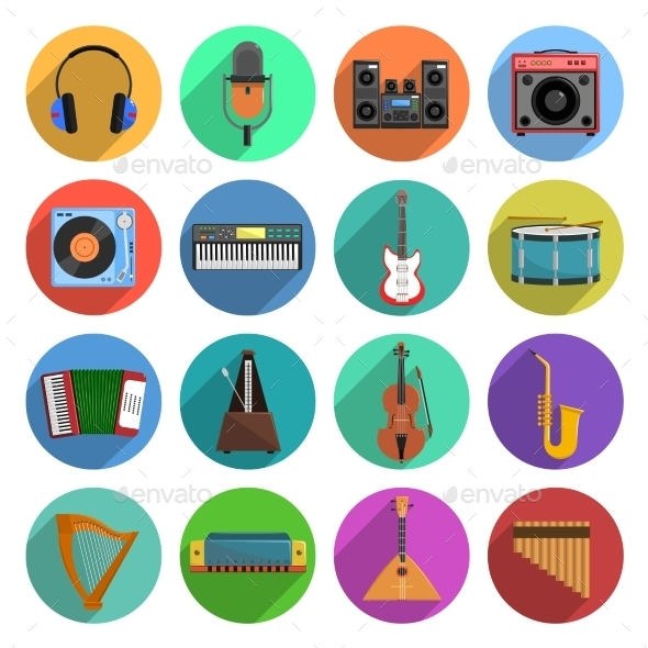 Melody And Music Icons Set  - Man-made objects Objects