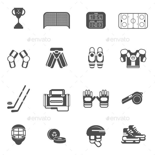 Ice Hockey Icons Set  - Man-made objects Objects