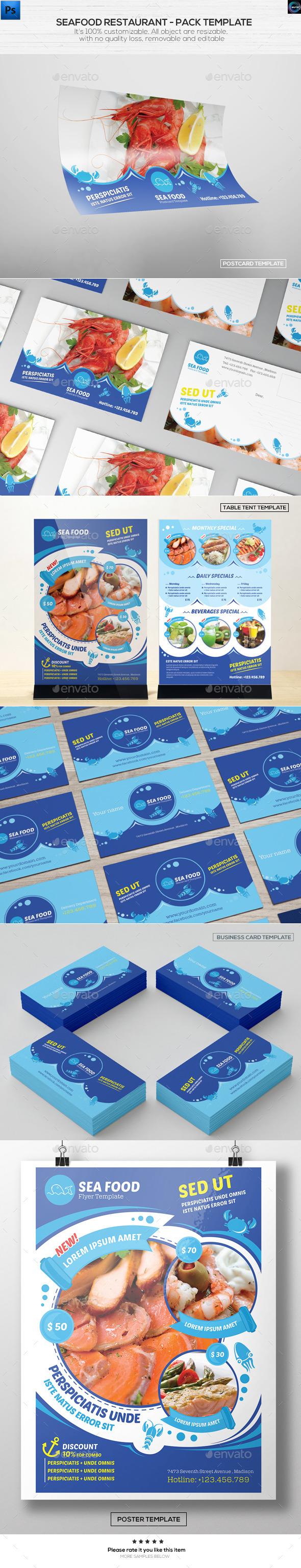 Seafood Restaurant - Pack Template - Food Menus Print Templates
