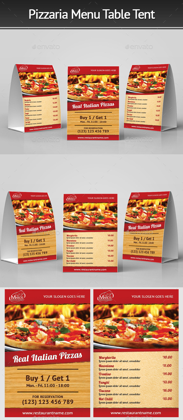 Pizzeria Menu Table Tent - Restaurant Flyers