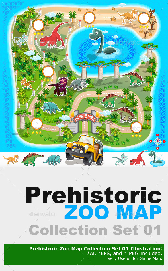 Prehistoric Zoo Map Collection 01 - Animals Characters
