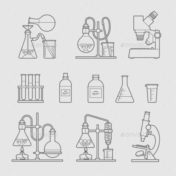 Chemical Glassware Icons Set.  - Health/Medicine Conceptual
