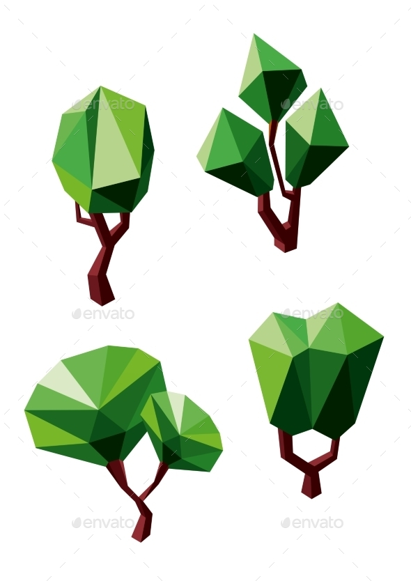Abstract Polygonal Green Trees Icons - Flowers & Plants Nature