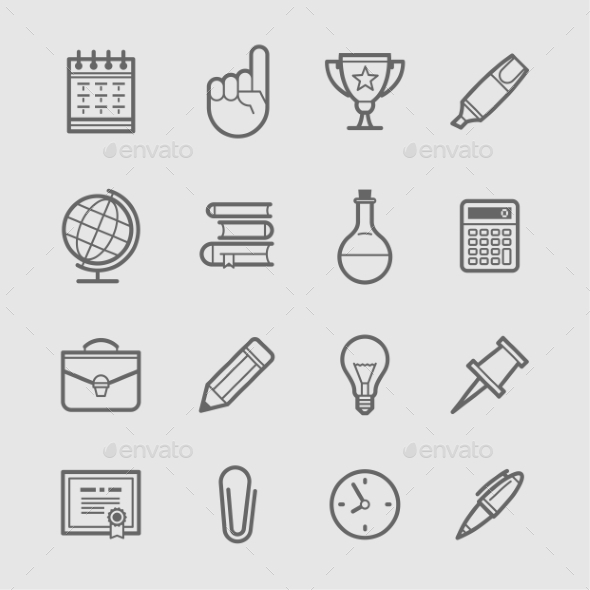 Education Icons  - Web Elements Vectors