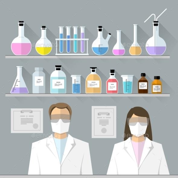 Vector Set - Chemical Designer. Flat Design - Health/Medicine Conceptual