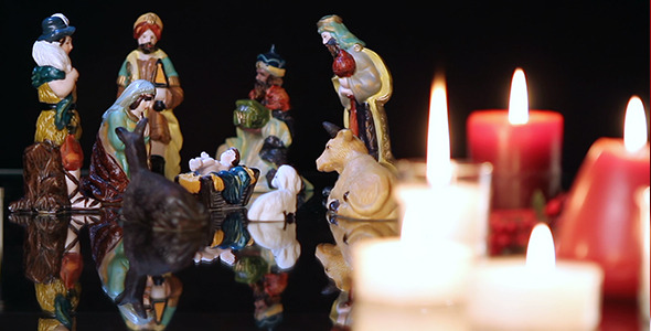 Christmas Nativity Scene with Candles 1
