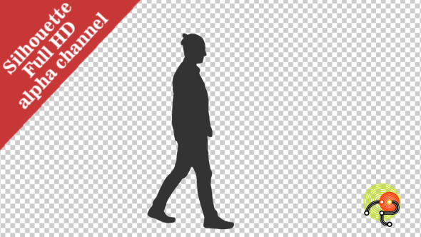 Silhouette of a Young Man Walking