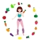 Slim Athletic Girl, Fresh Vegetables And Fruits - GraphicRiver Item for Sale