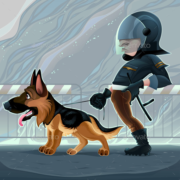 Cop with Dog - Animals Characters