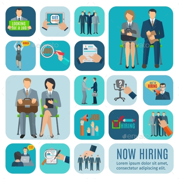 Human Resources Hiring Flat Icons Set  - Concepts Business