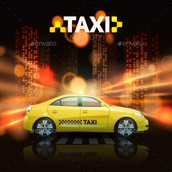 Taxi On City Background - Backgrounds Decorative