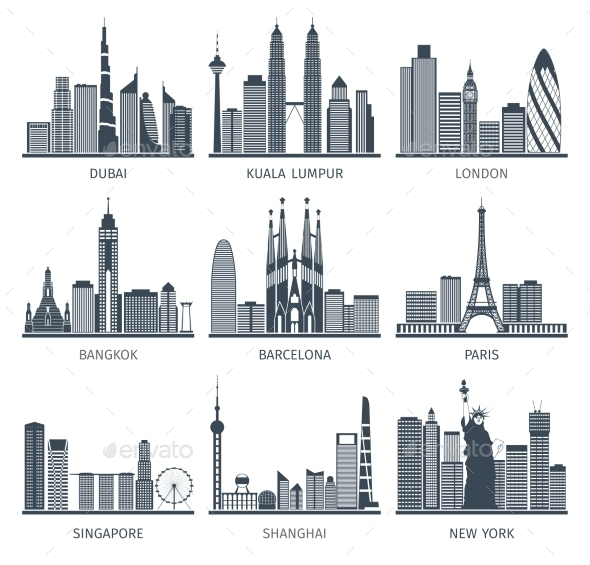 City Skyline Black Icons Set - Buildings Objects