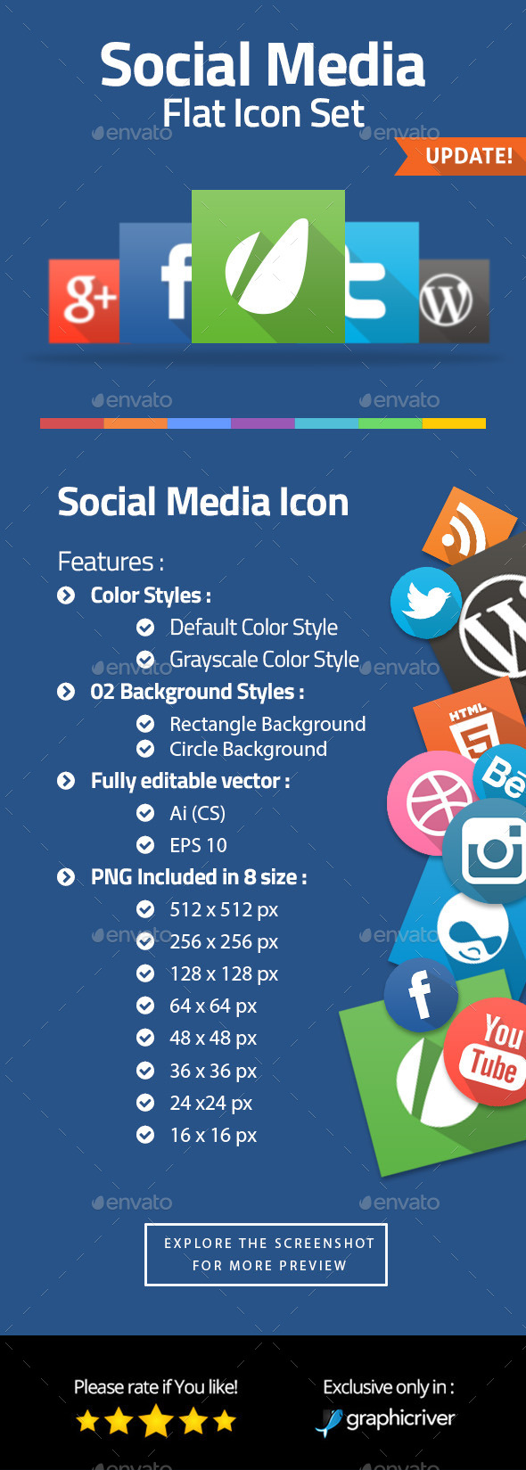 Contact & Social Media Flat Icons - Web Icons
