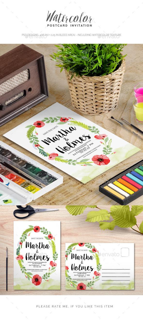 Watercolour Wedding Invitation - Invitations Cards & Invites