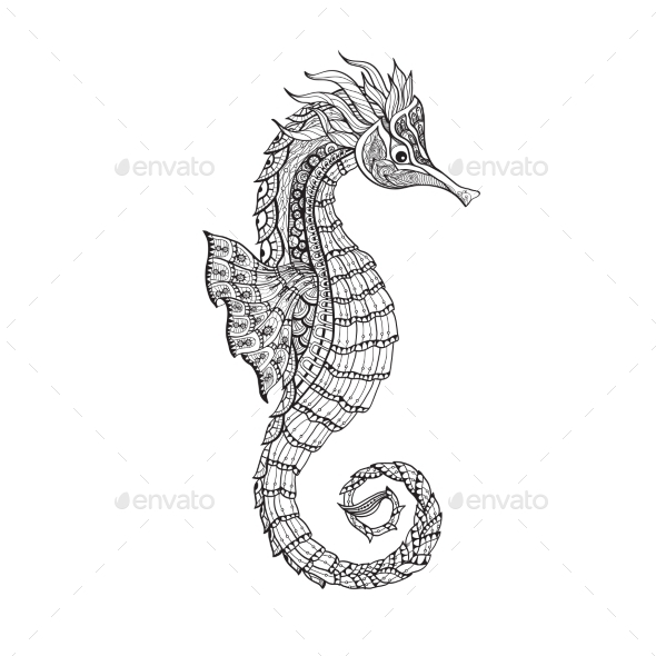 Doodle Sketch Seahorse Black Line - Animals Characters