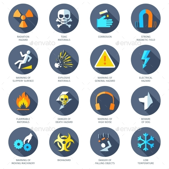 Hazard Icons Flat - Miscellaneous Icons
