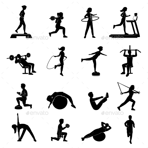 Fitness Men Women Blackicons Set - Miscellaneous Icons