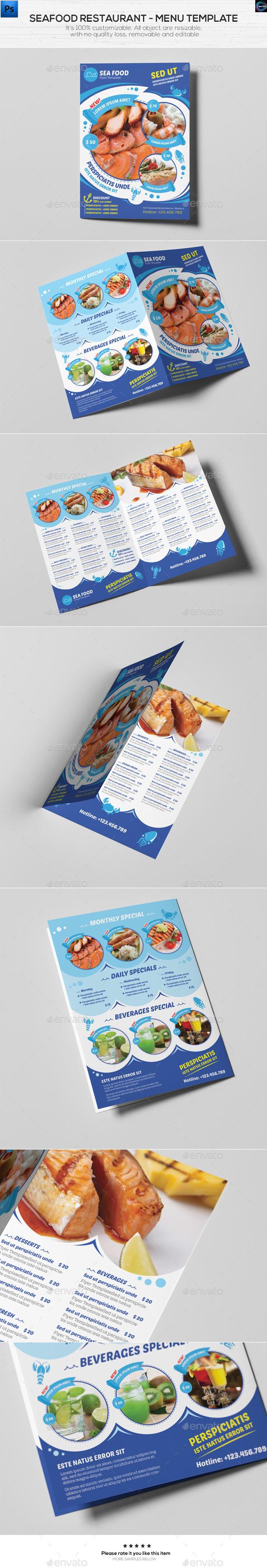Seafood Restaurant - Menu Template - Food Menus Print Templates
