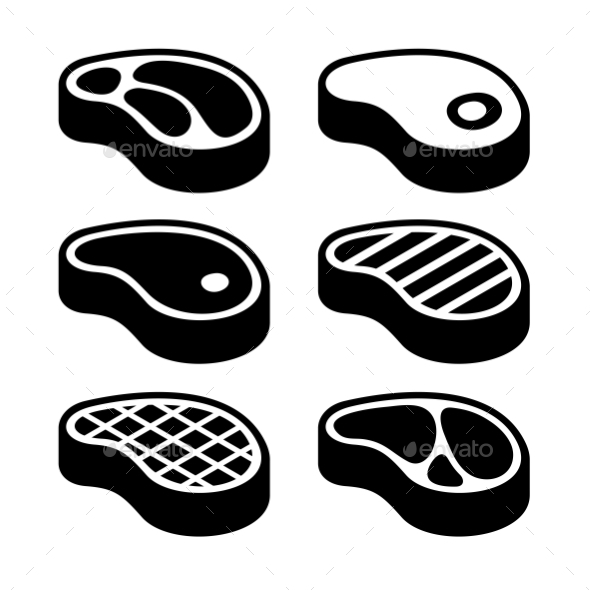 Steak Icons Set. Vector - Food Objects