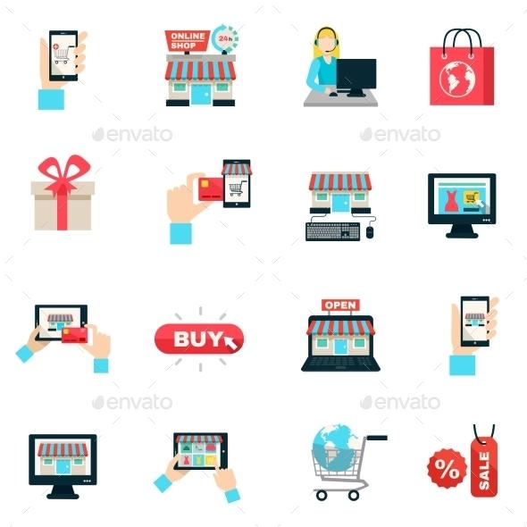 Internet Shopping Flat Icon Set  - Web Icons