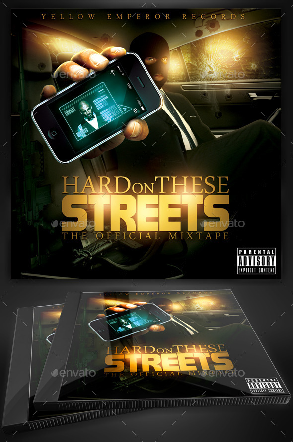 Hard Streets Mixtape Flyer or CD Template