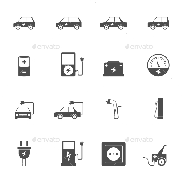 Electric Car Black Icon Set  - Man-made objects Objects