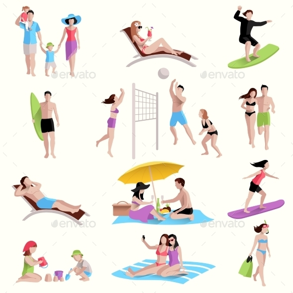 People On Beach Icons - Sports/Activity Conceptual