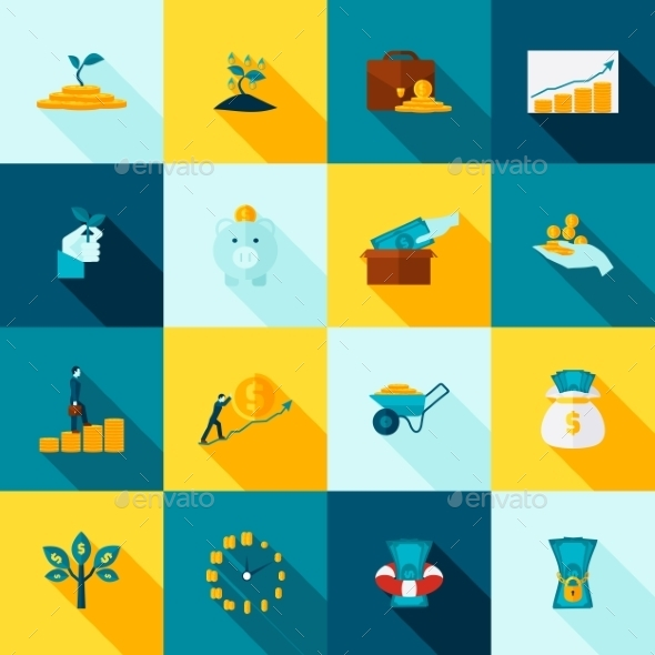 Investment Long Shadows Icon Set - Business Icons
