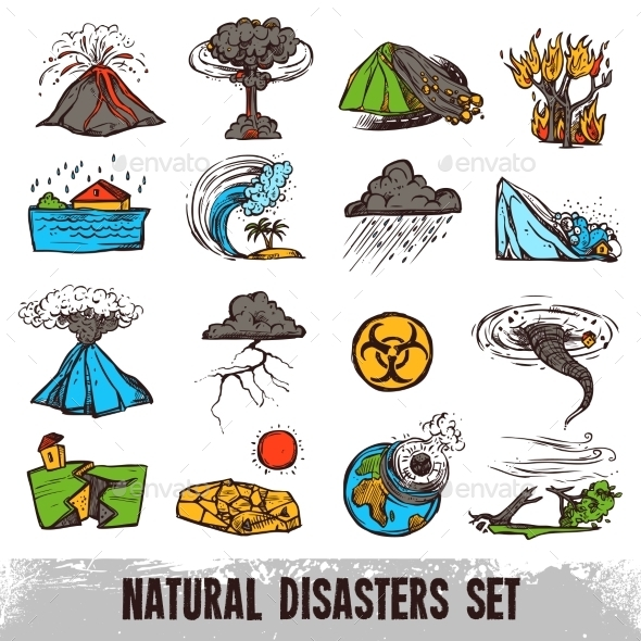Natural Disasters Color Set - Nature Conceptual