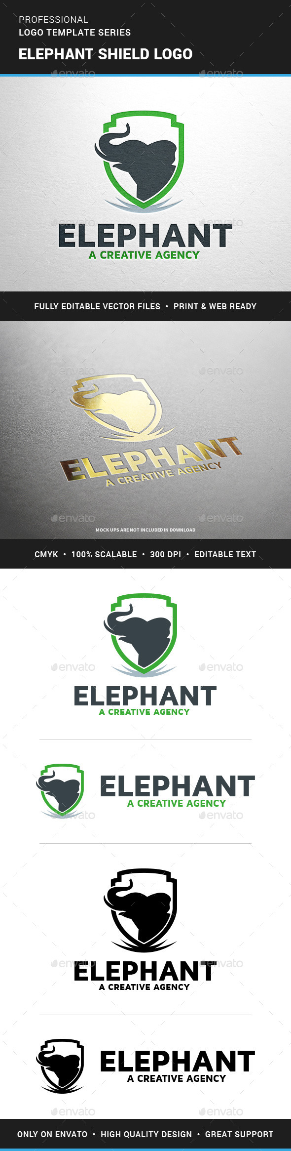 Elephant Shield Logo Template - Animals Logo Templates