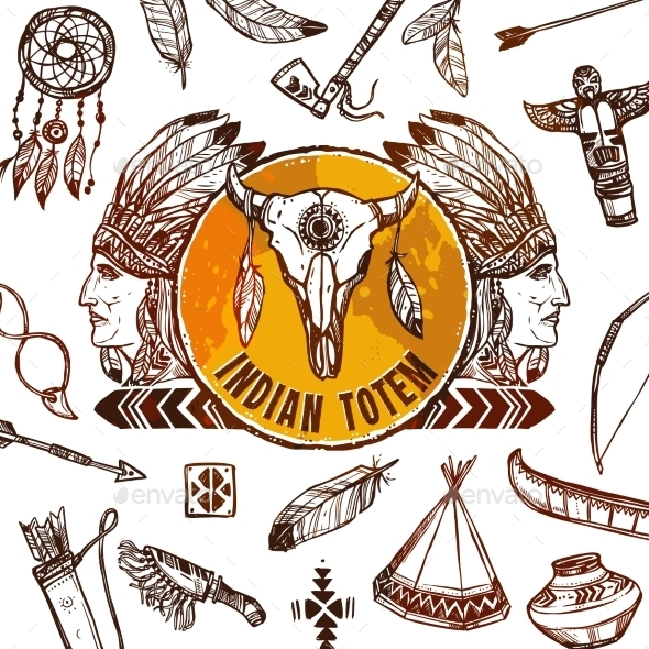 Native Americans Background - Decorative Vectors