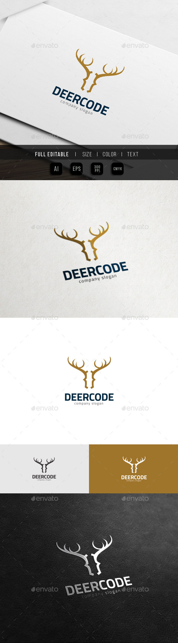 Deer Code - Wild Website Theme Logo - Symbols Logo Templates