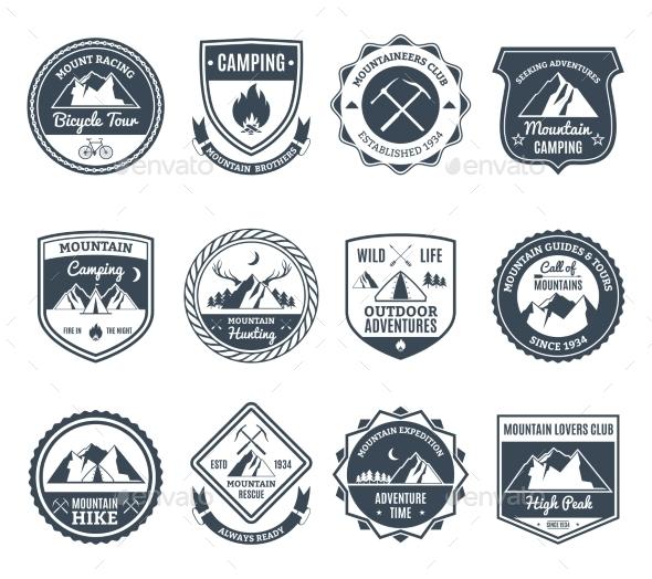 Mountain Adventure Emblems Black - Landscapes Nature