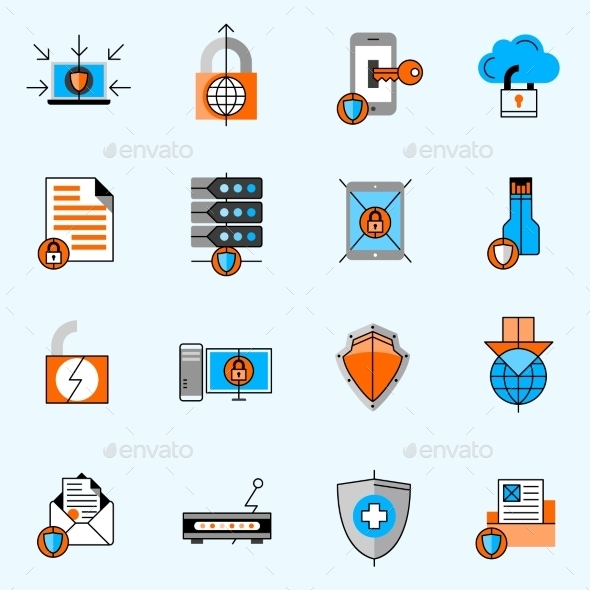 Data Protection Line Icons Set - Technology Icons