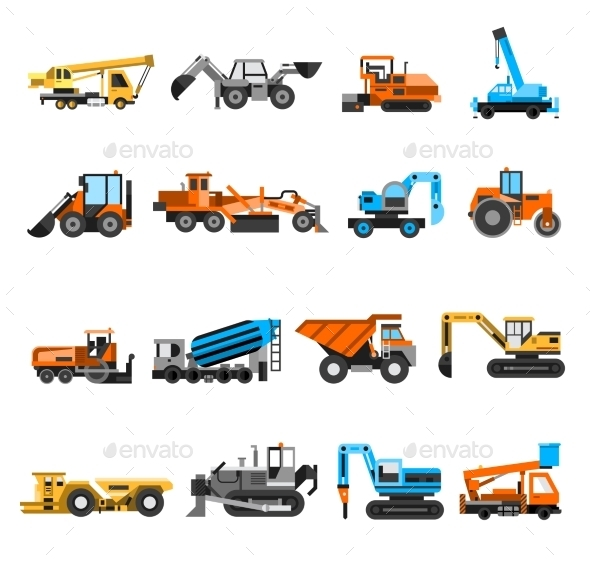 Construction Machines Icons Set - Man-made objects Objects