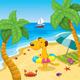 Cartoon Dog with a Swimming Ring on the Beach - GraphicRiver Item for Sale