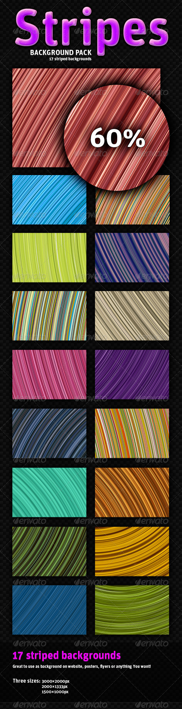 Striped Background Pack - 17 Variants - Backgrounds Graphics