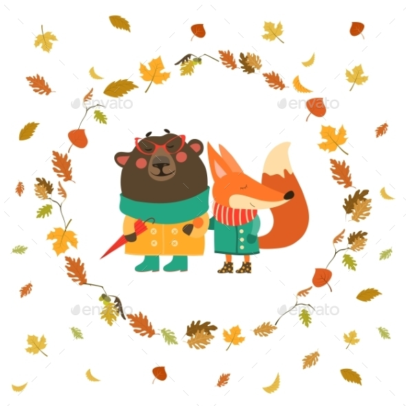 Fox and Bear Walking in Wreath of Autumn - Animals Characters