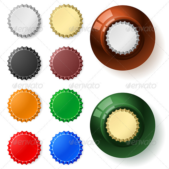 Multicolored  bottle cap - Characters Vectors