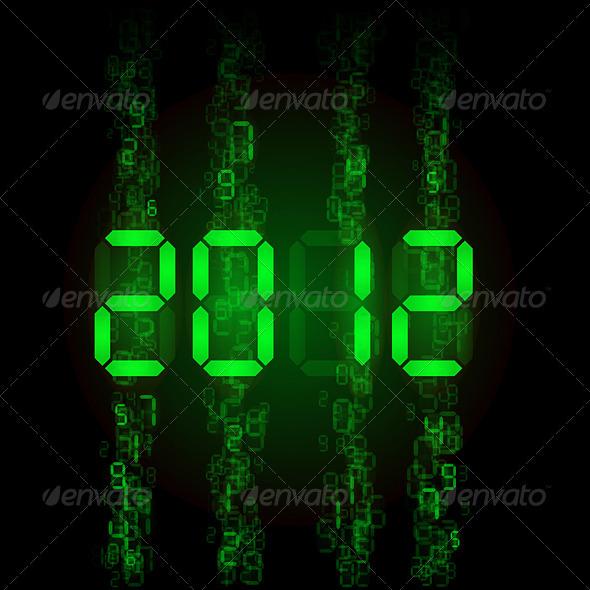Set of digital numbers - twenty twelve - Characters Vectors