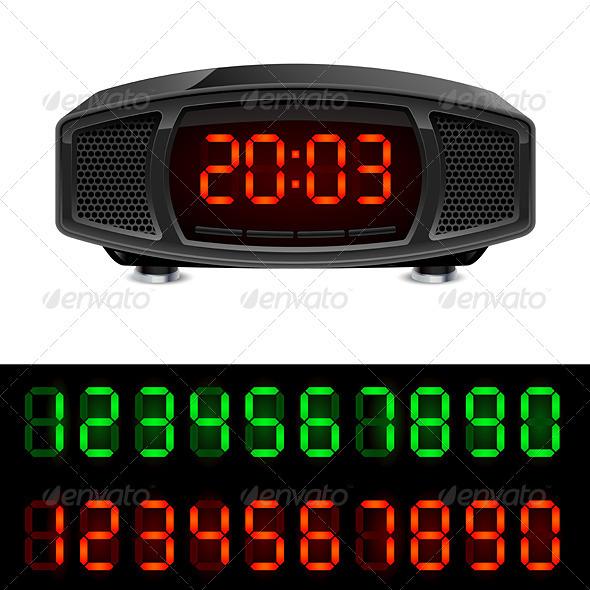 Radio alarm clock - Characters Vectors
