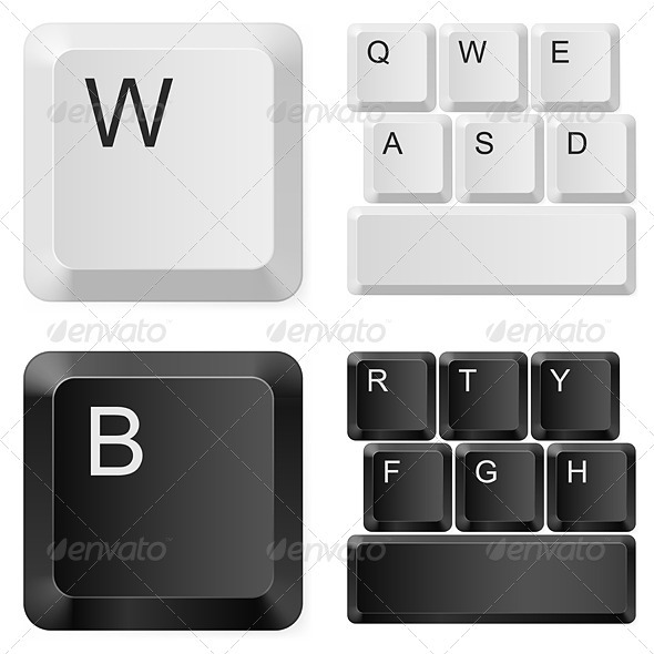 White and black computer keys. - Characters Vectors