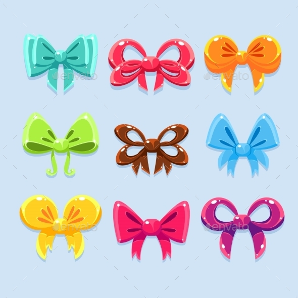 Colorful Ribbons and Bow Ties - Decorative Symbols Decorative