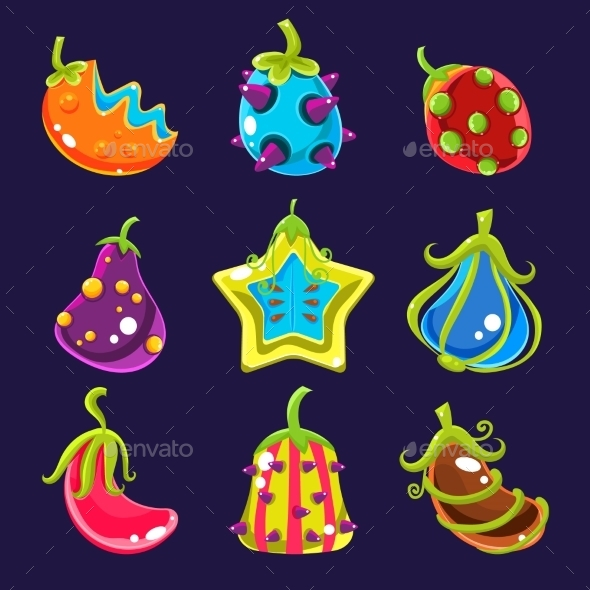 Set of Colorful Fantasy Fruits