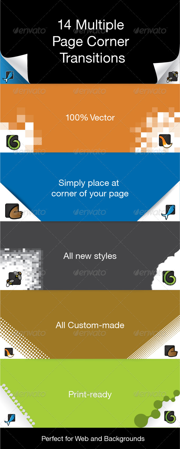 12 Page Corner Transitions - Miscellaneous Conceptual