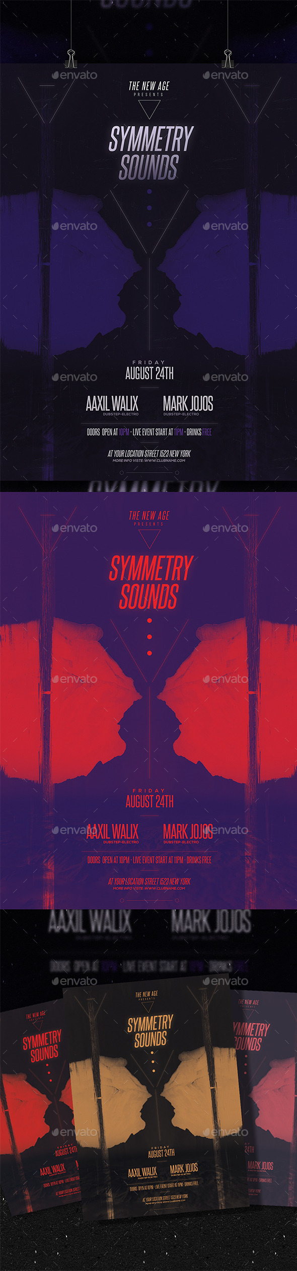Minimal Flyer/Poster - Symmetry Sounds - Clubs & Parties Events