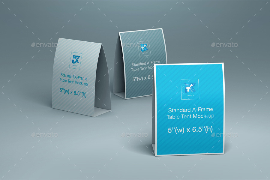 Table Tent Mockup V By Kenoric GraphicRiver - Standard table tent size