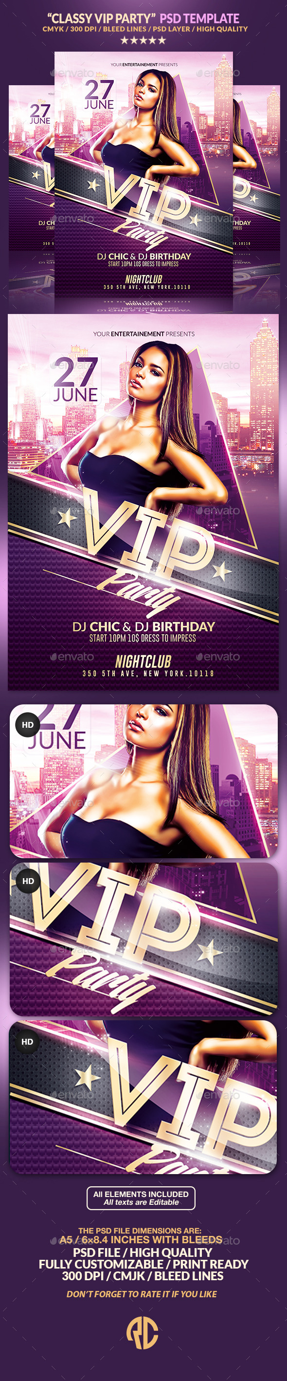Classy Vip Party | Psd Flyer Template - Clubs & Parties Events