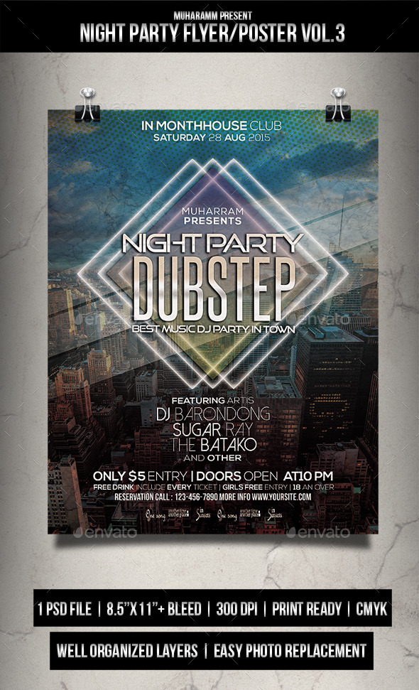Night Party Flyer / Poster Vol.3 - Clubs & Parties Events