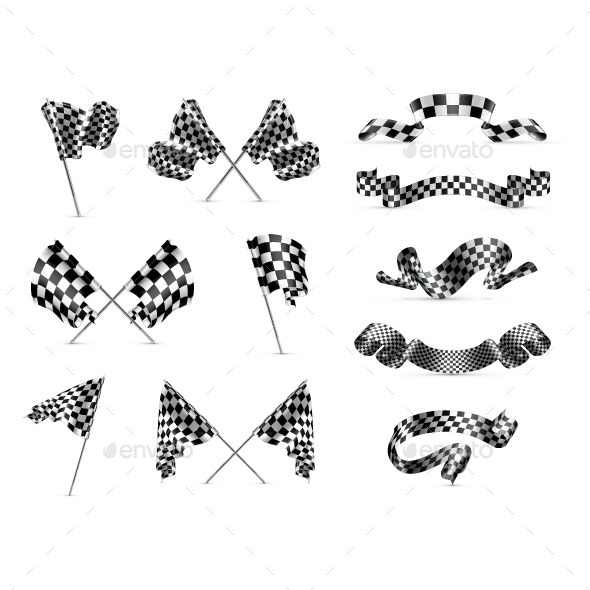 Checkered Flags Icons  - Decorative Symbols Decorative